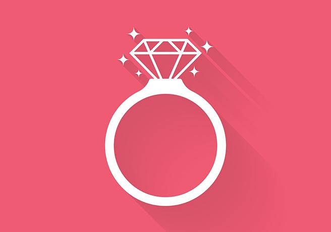 イミテーションのダイヤを使った婚約指輪のイメージ