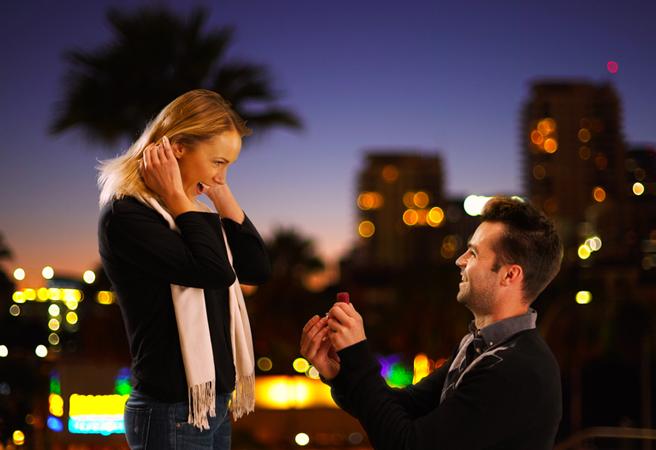 夜の街中でプロポーズをする男性と喜ぶ女性